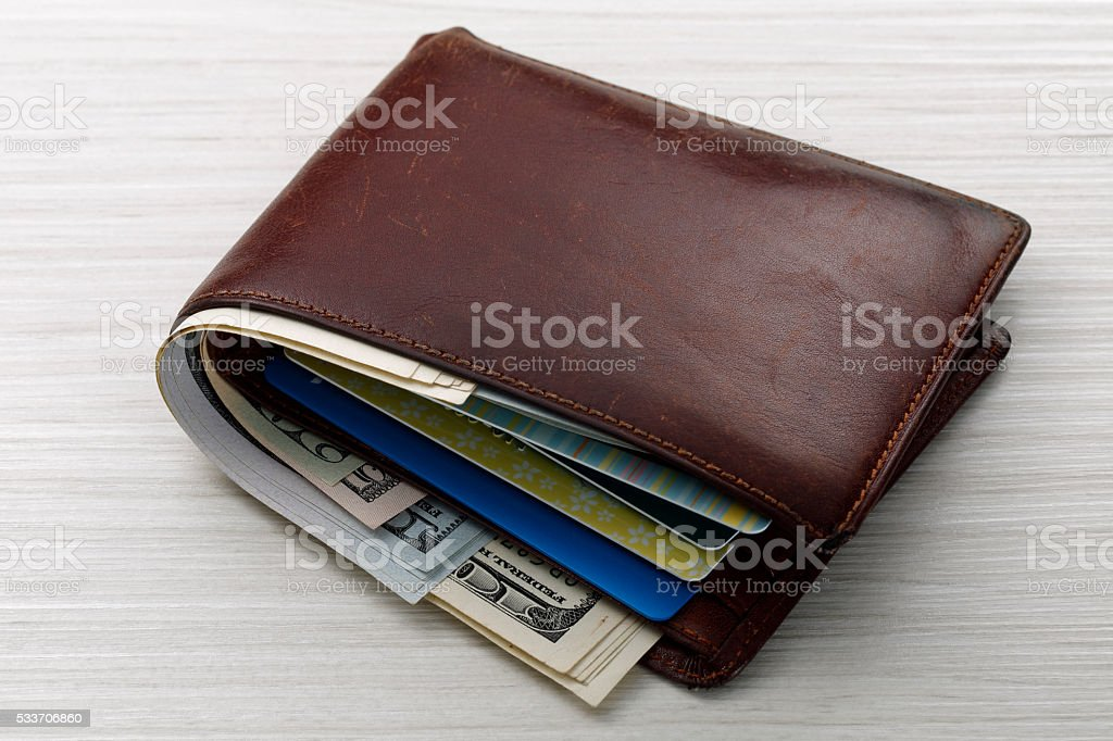 Credit card and wallet stock photo