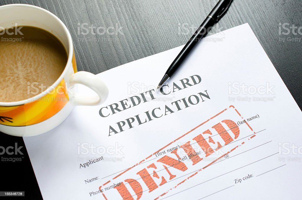 credit card application - denied stock photo