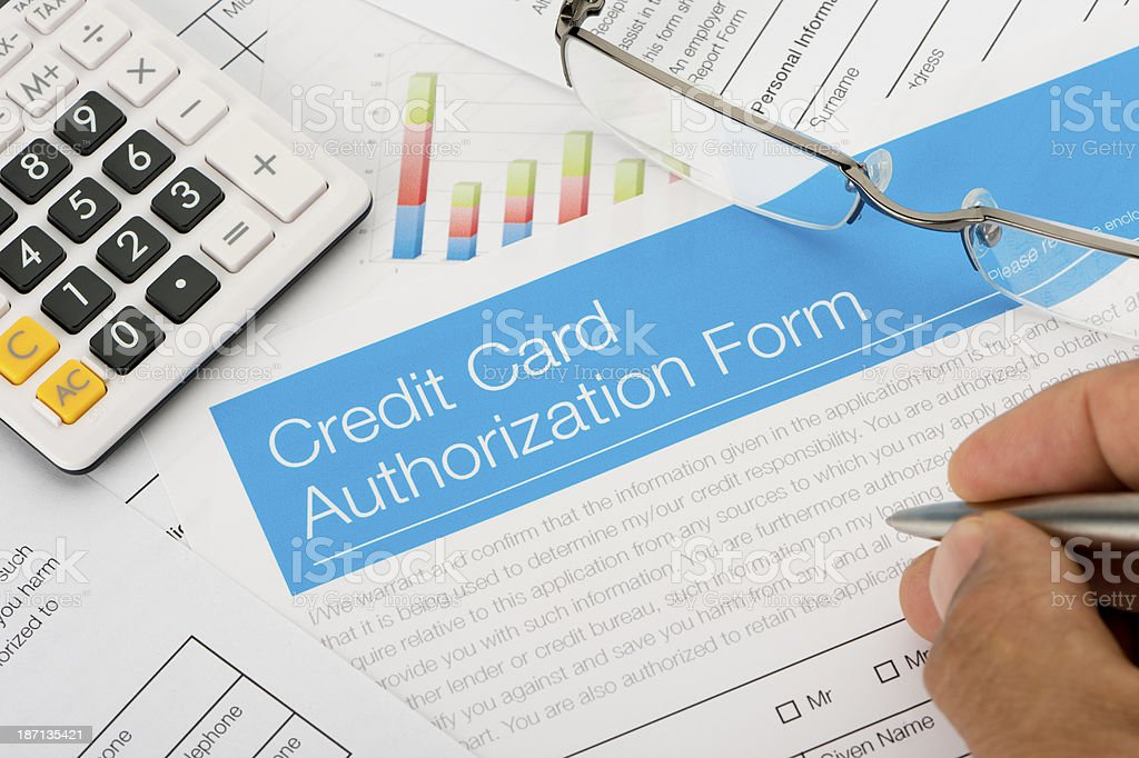 Credit card authorization form royalty-free stock photo