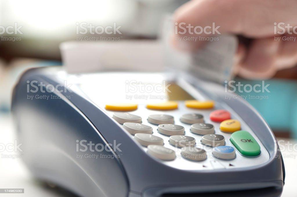 Credit card being swiped at retail store  eftpos terminal stock photo