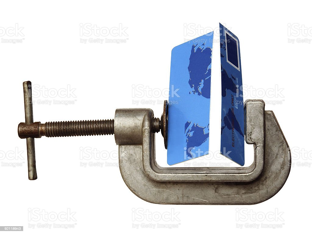 Credit Card Broken by Clamp royalty-free stock photo