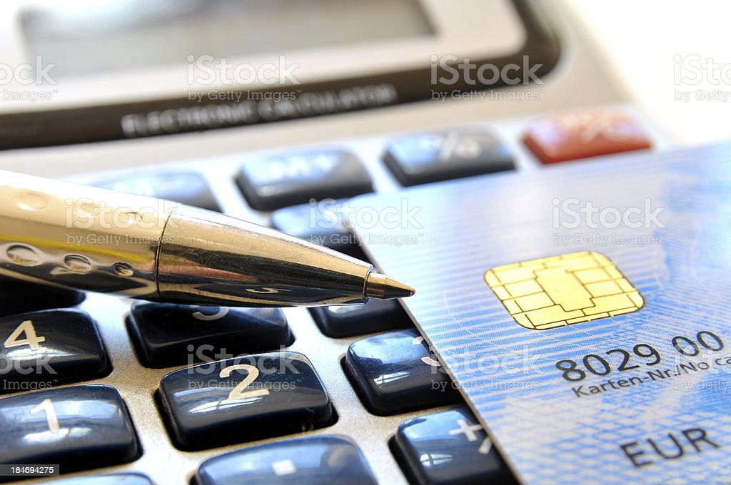 Credit card calculation royalty-free stock photo