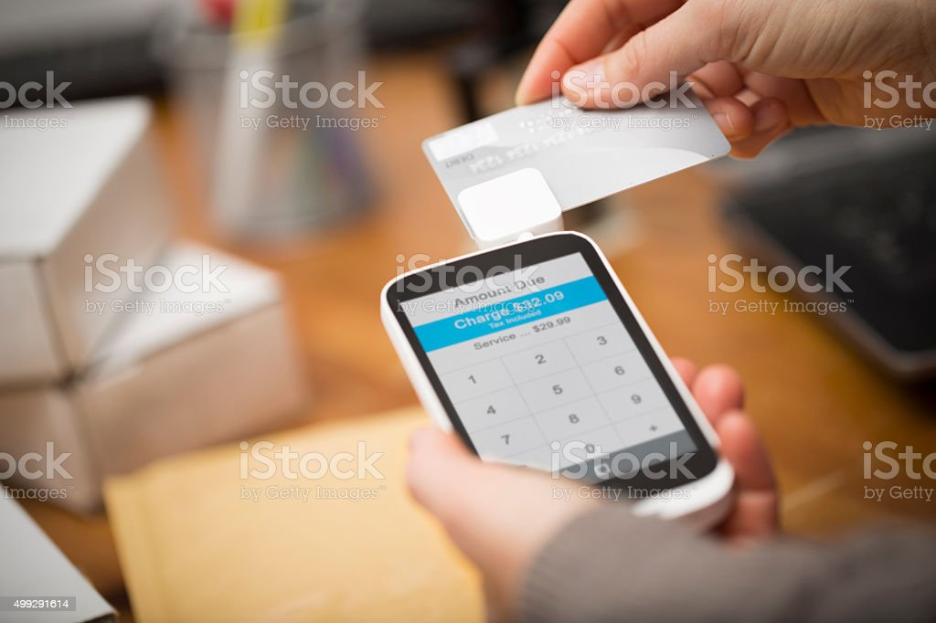Credit Card Cell Phone Payment stock photo
