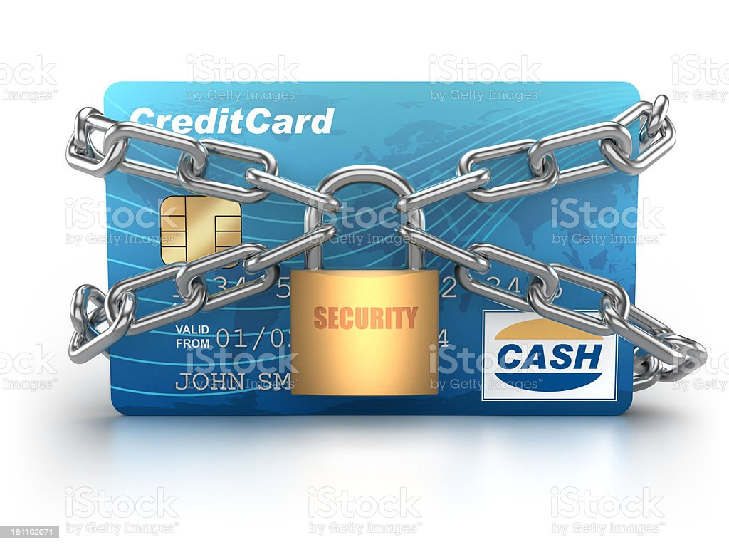 Credit Card chained with padlock - isolated / clipping path stock photo