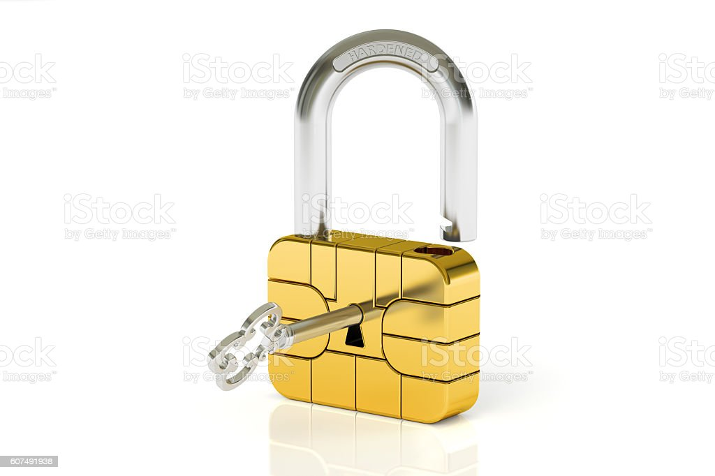 Credit Card Chip Security concept, 3D rendering stock photo