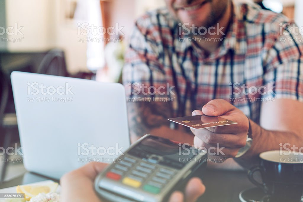 Credit card contactless payment stock photo