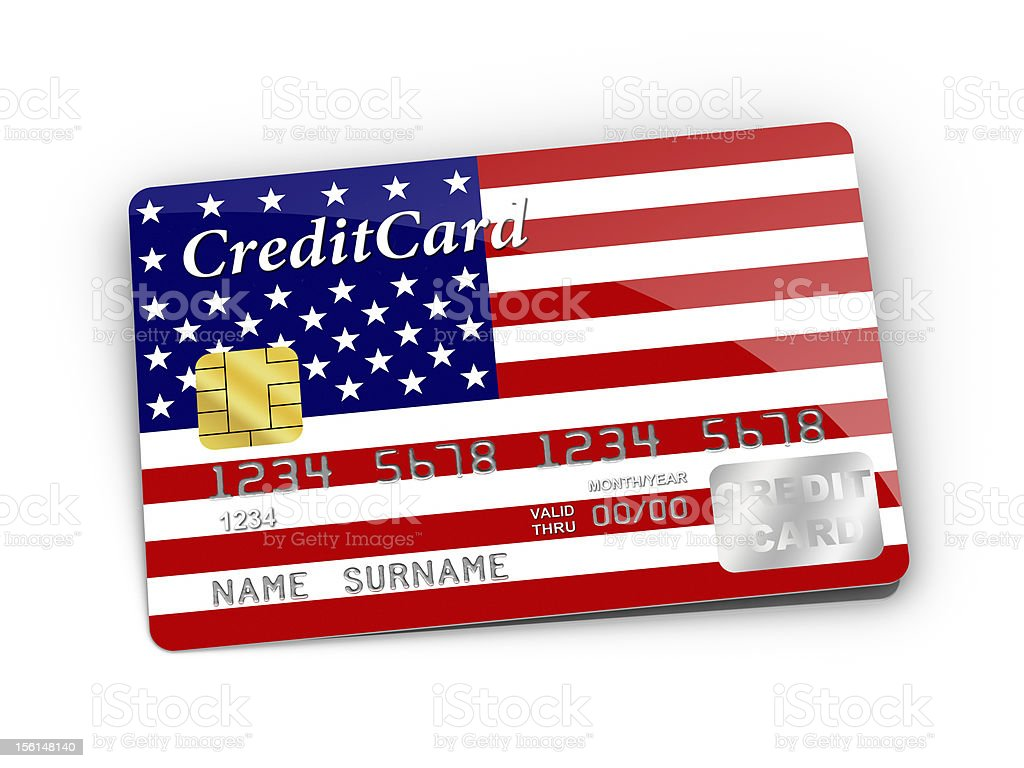 Credit Card covered with American flag. royalty-free stock photo