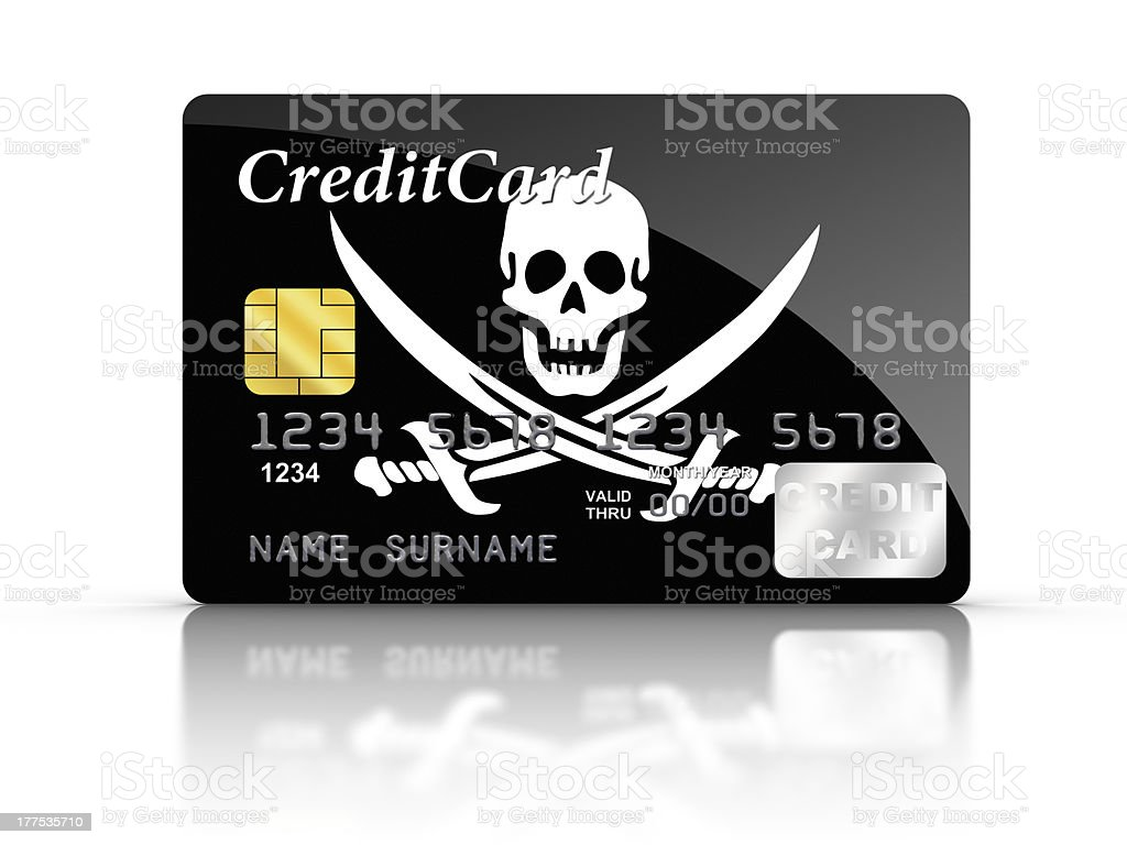 Credit Card covered with Pirate flag. stock photo