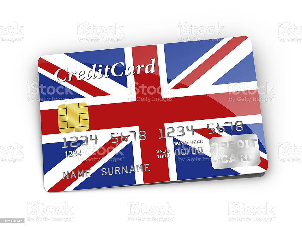 Credit Card covered with UK flag. royalty-free stock photo
