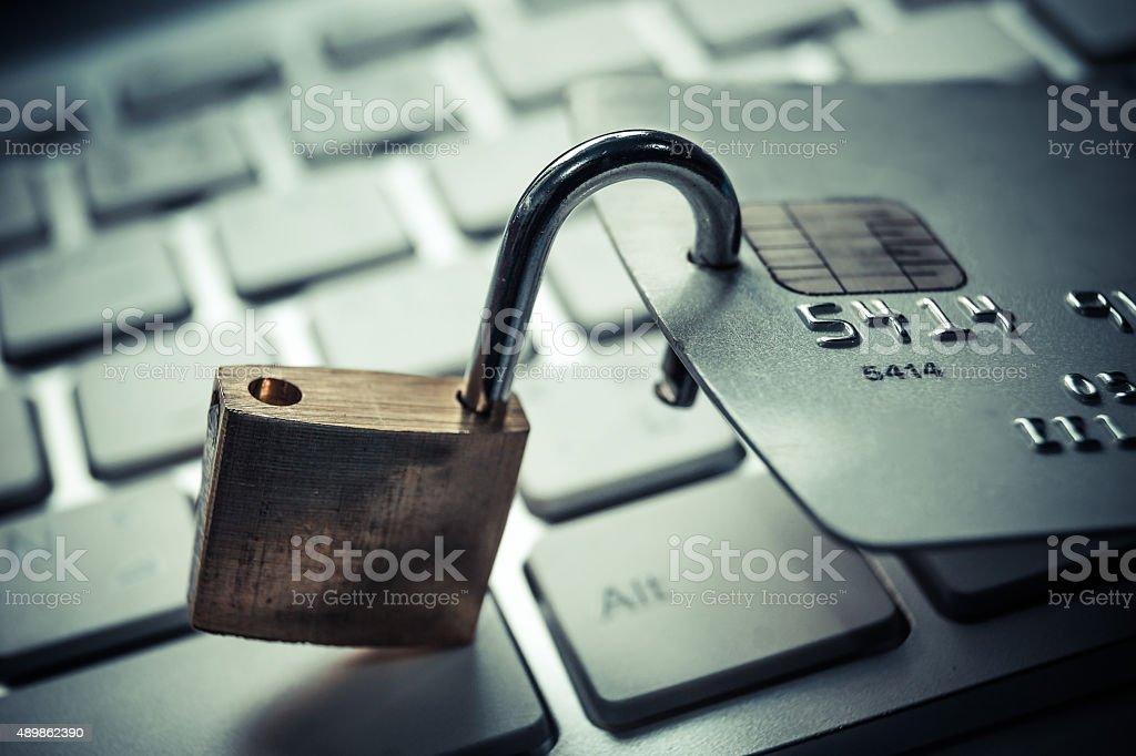 credit card data decryption risk stock photo