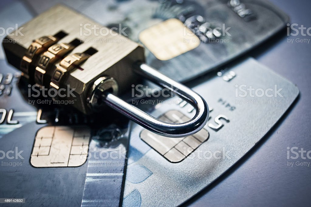 credit card data encryption security stock photo