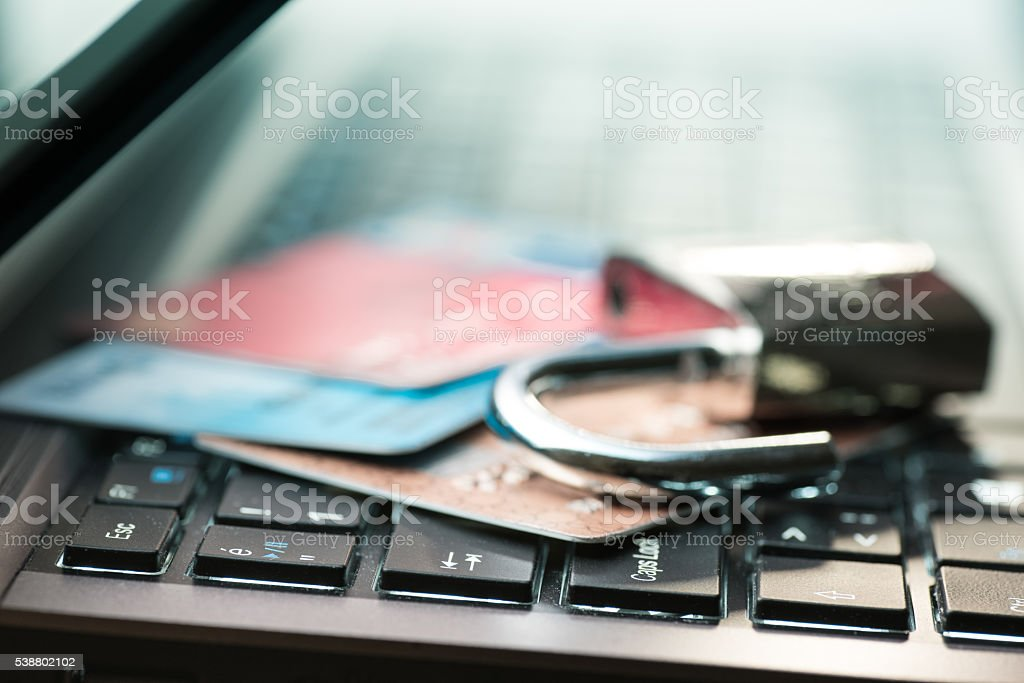 Credit card data security concept stock photo