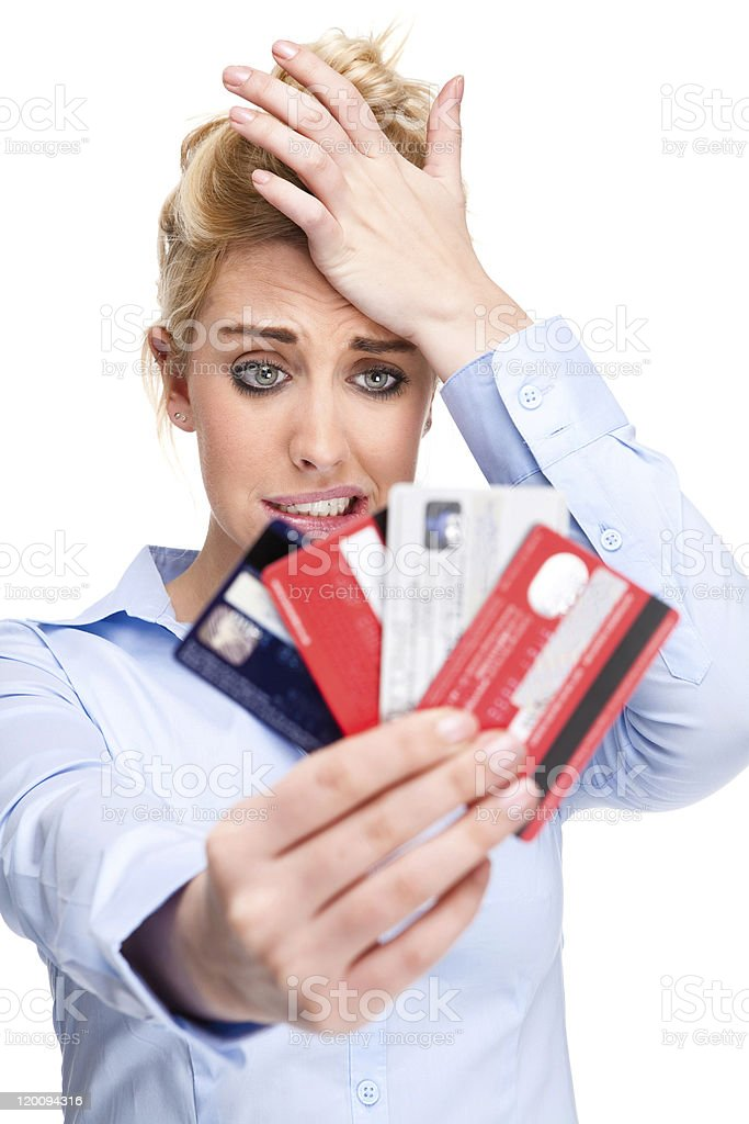 Credit Card Debt Attractive Young Woman With Money Worries royalty-free stock photo