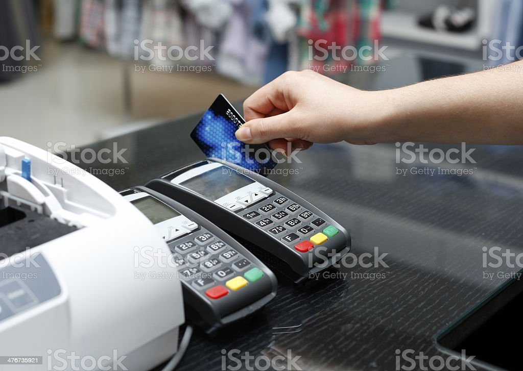 Credit card device stock photo