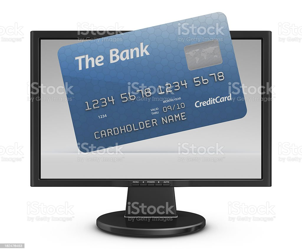 credit card in monitor stock photo