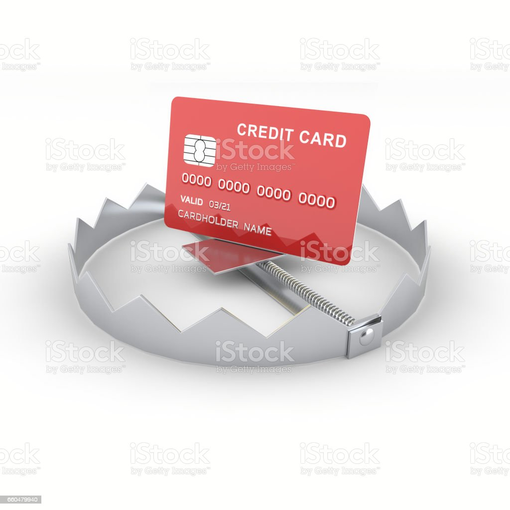 Credit card in the trap stock photo