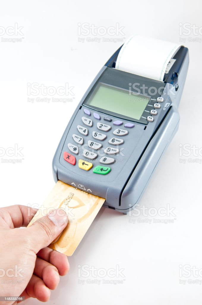 Credit card machine being used stock photo