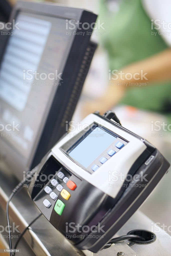 Credit card machine in store stock photo