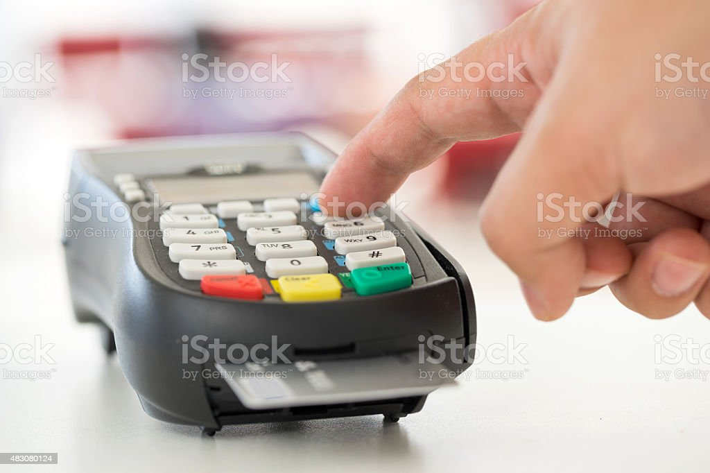 Credit card machine payment and dollar stock photo