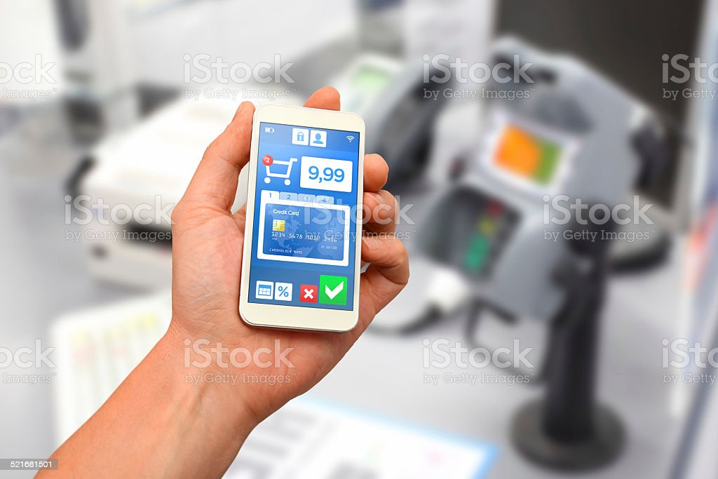 Credit card mobile payment with smartphone wallet stock photo