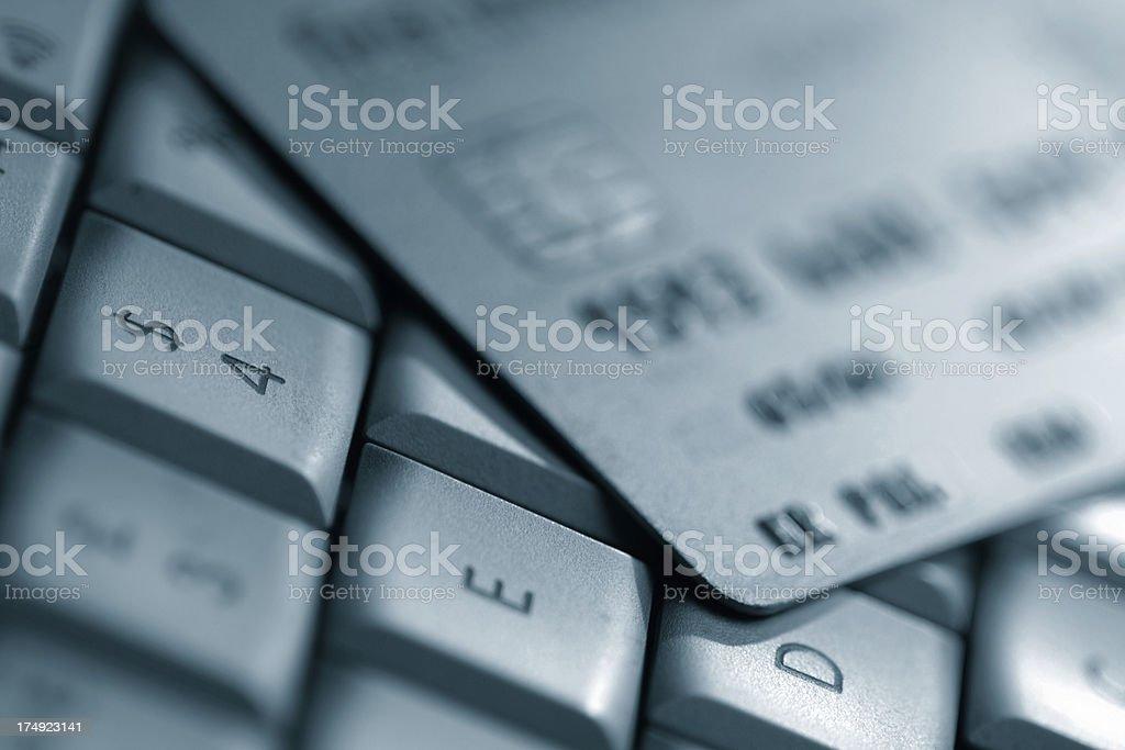 credit card on laptop keyboard royalty-free stock photo