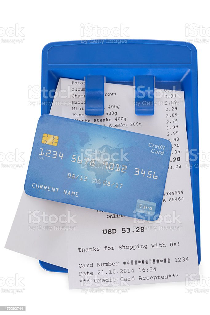 Credit Card On Shopping Receipt stock photo