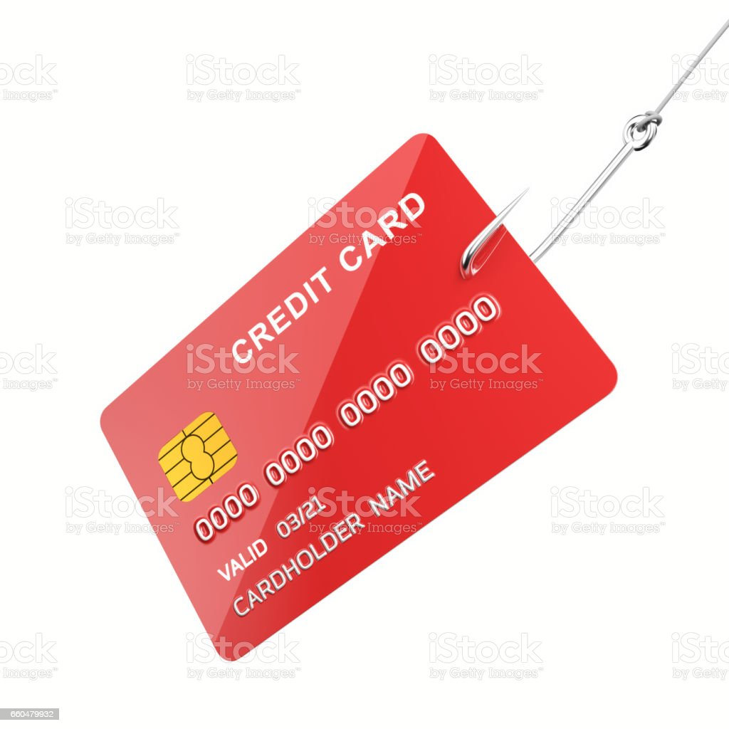 Credit card on the hook stock photo