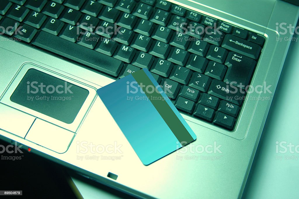 credit card on the laptop royalty-free stock photo