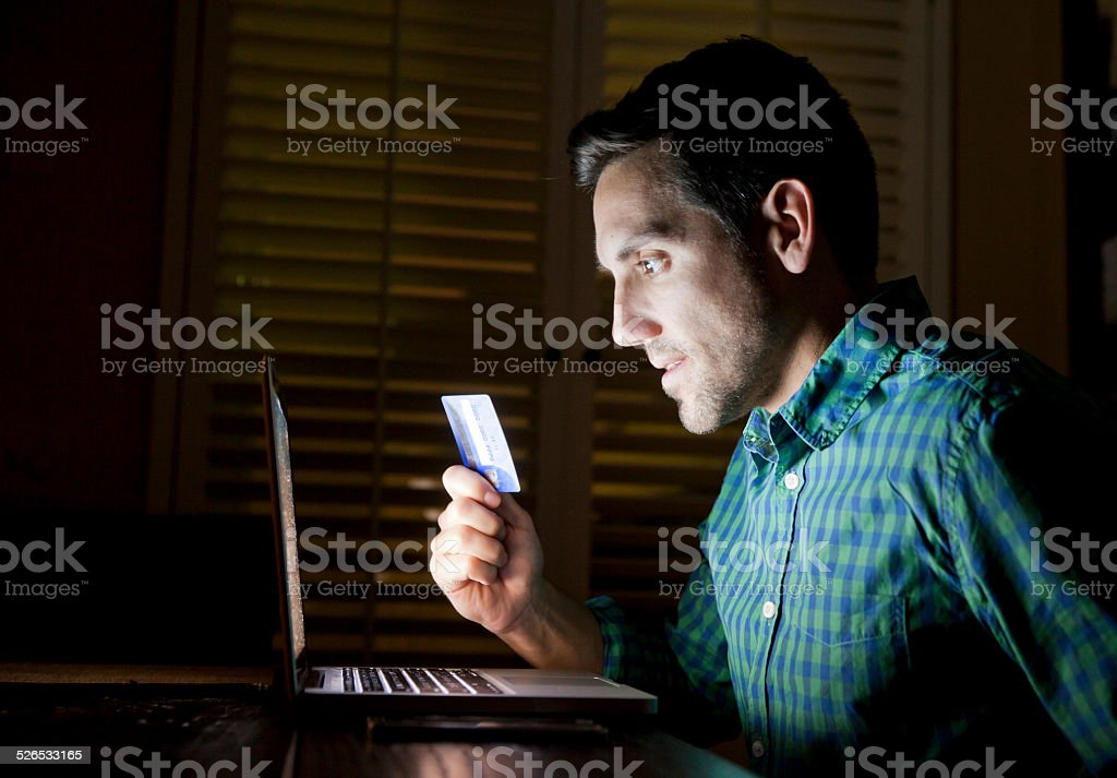 Credit Card Online Laptop Shopper stock photo
