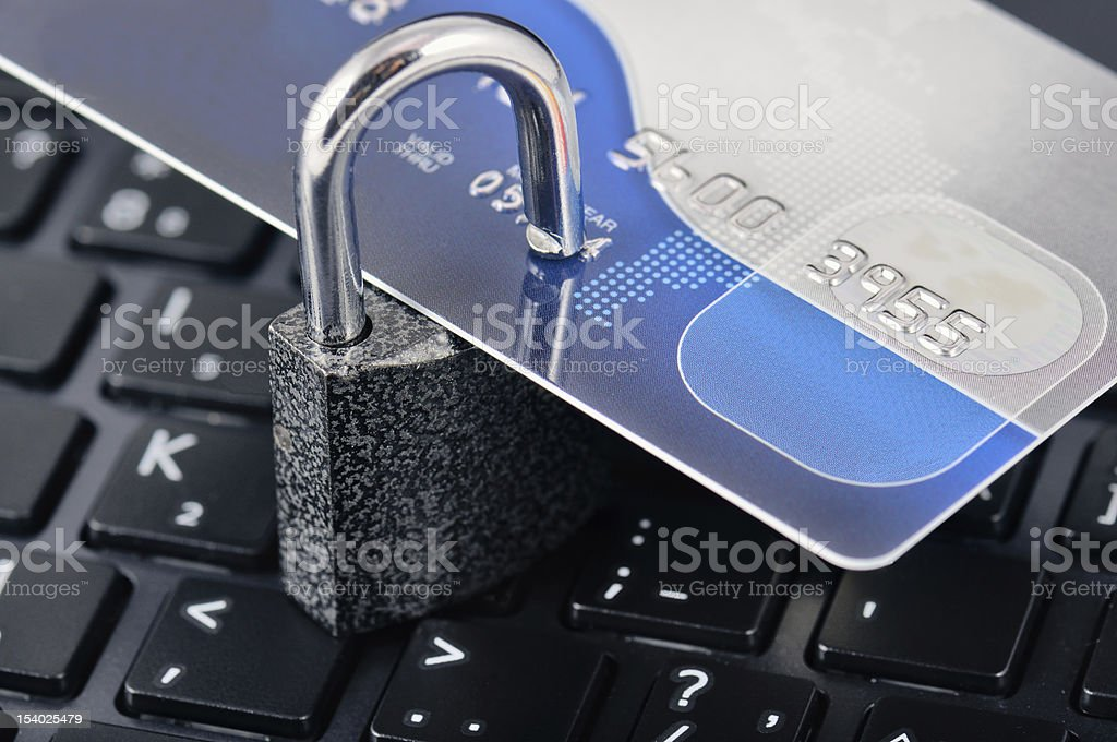Credit Card, Padlock And Laptop royalty-free stock photo