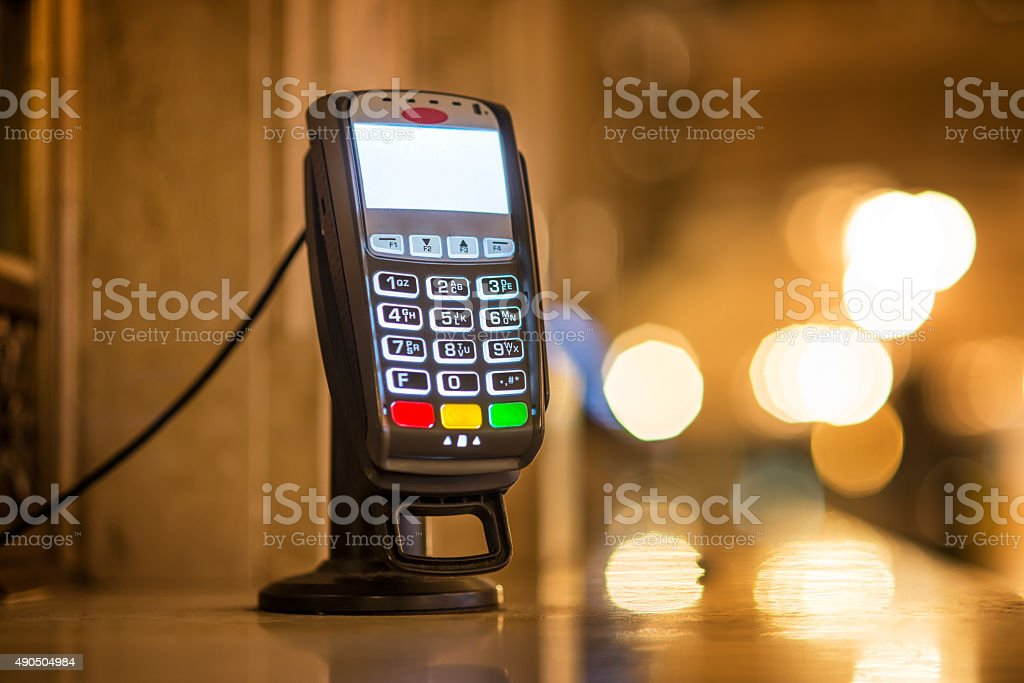 Credit Card payment terminal at ticket office stock photo