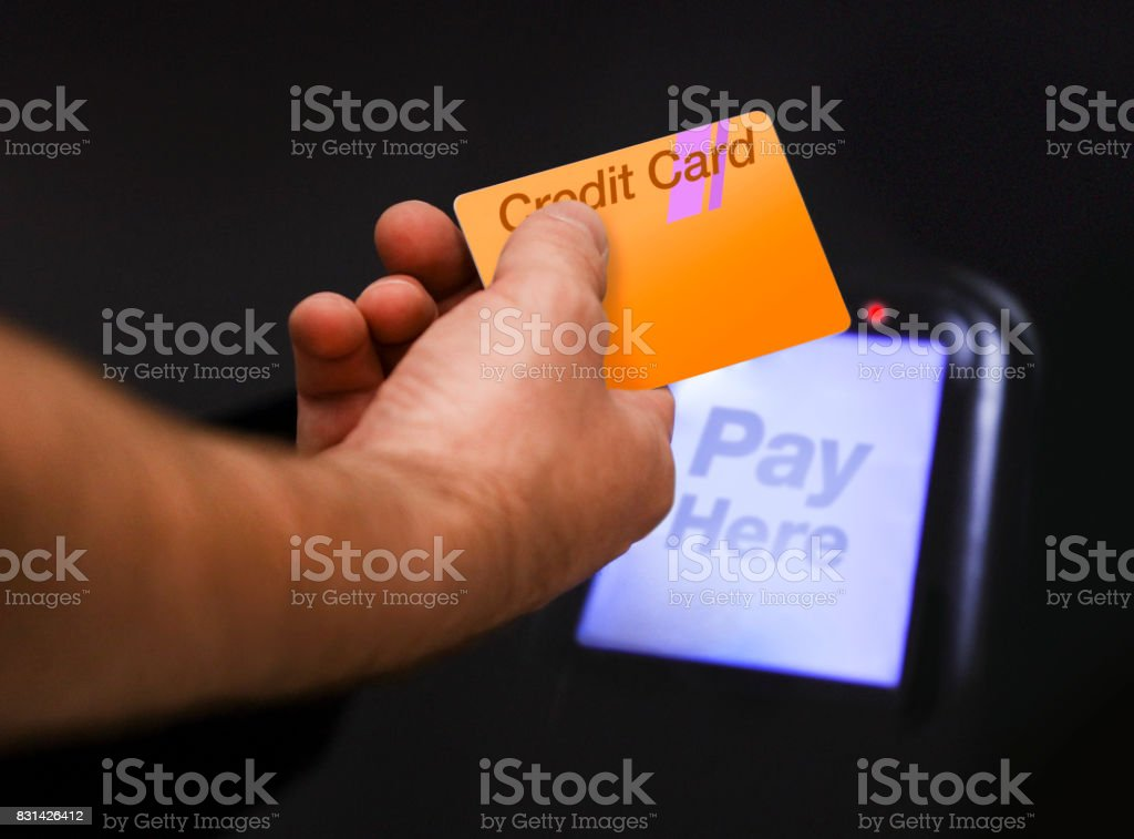 Credit Card Payment Using Touchpay stock photo