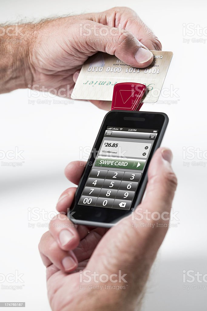 Credit Card Reader for Mobile Phone stock photo