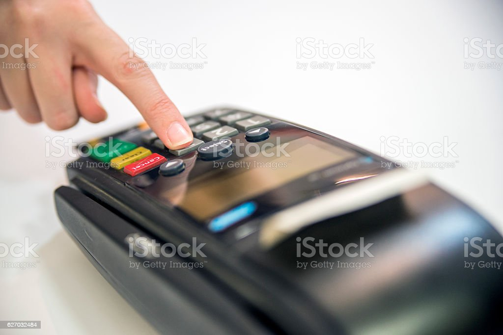 Credit card reader machine on white background. stock photo