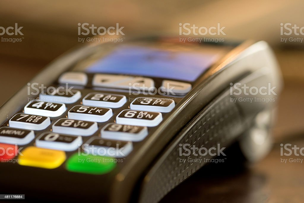 Credit card reader machine stock photo