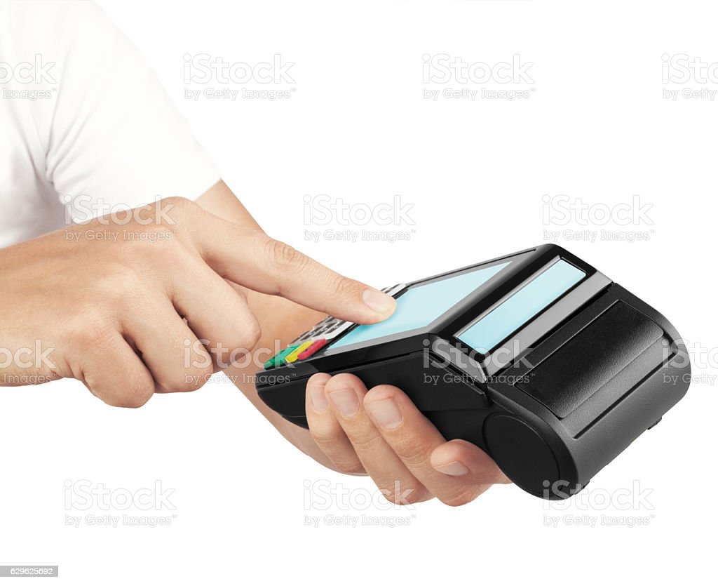 Credit card reader(clipping path) stock photo