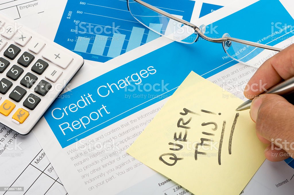 Credit card report form on a desk stock photo
