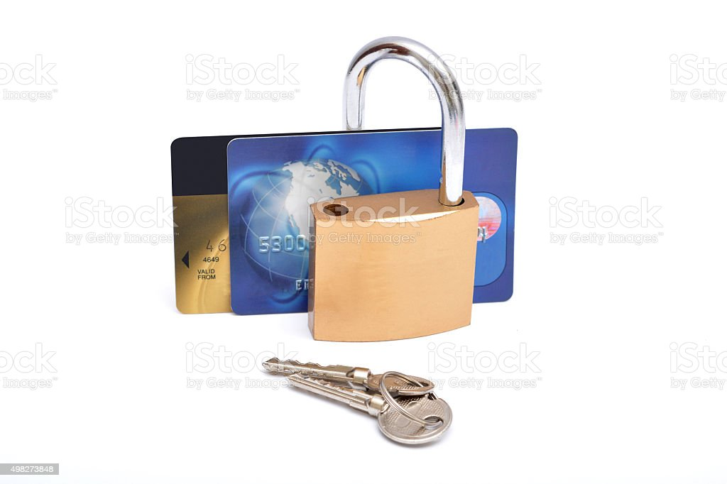 Credit card saftey lock with keys stock photo