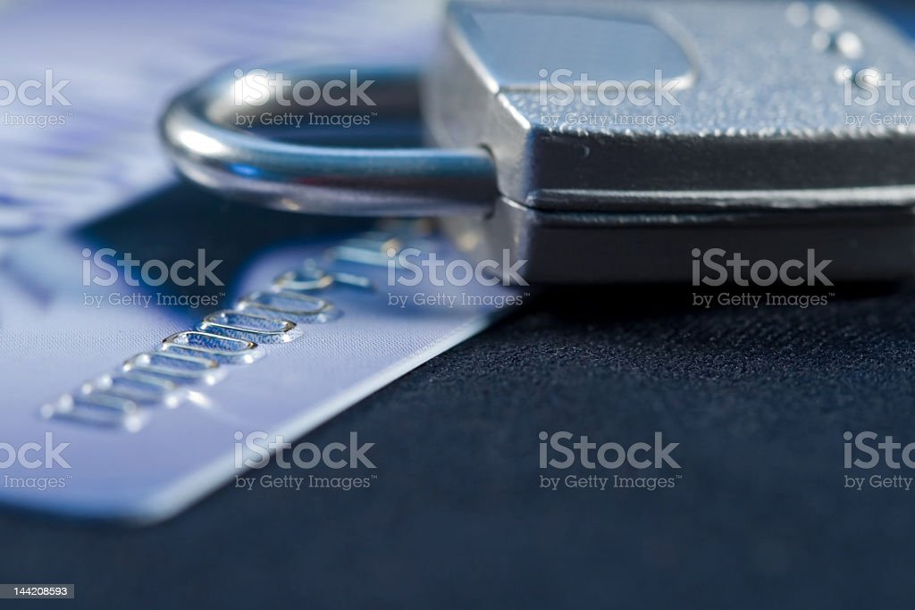 Credit card security image with physical padlock royalty-free stock photo