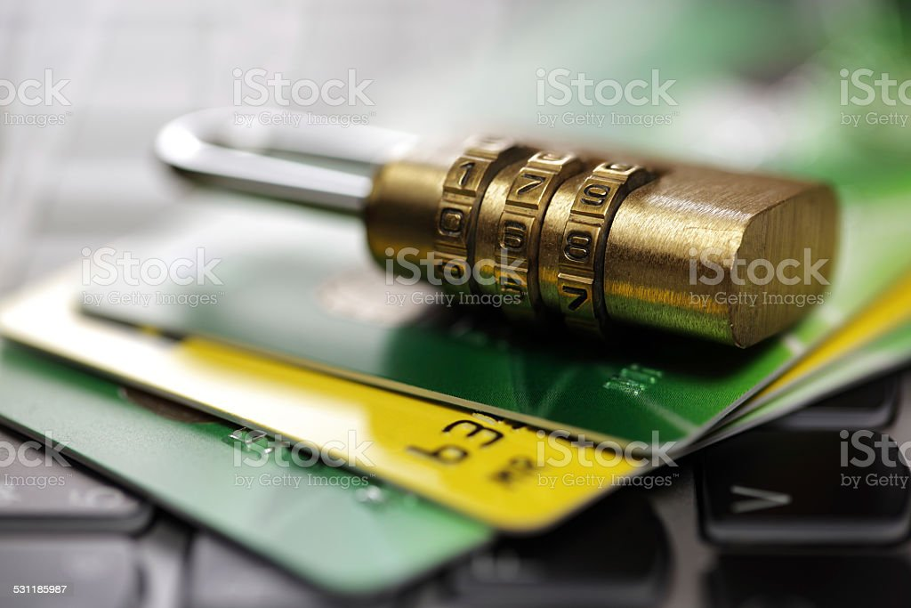 Credit card security on the internet stock photo