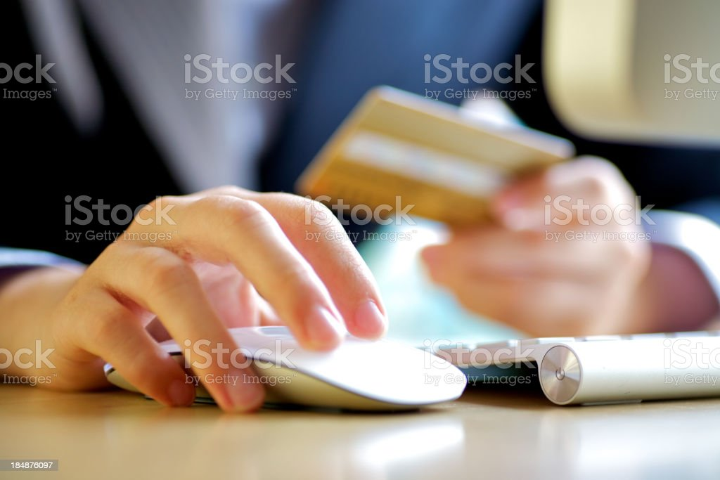 Credit card shopping on line stock photo