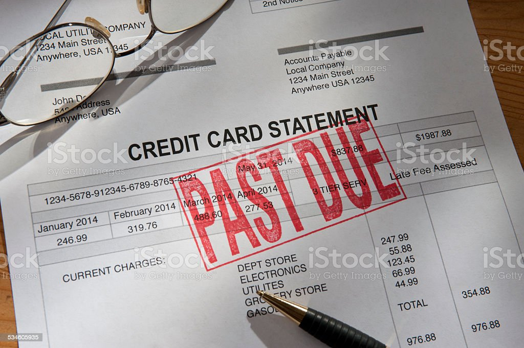 Credit Card Statement Past Due stock photo