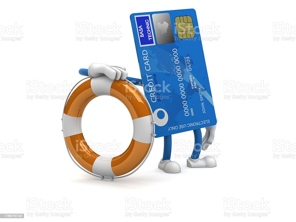 Credit card with buoy stock photo
