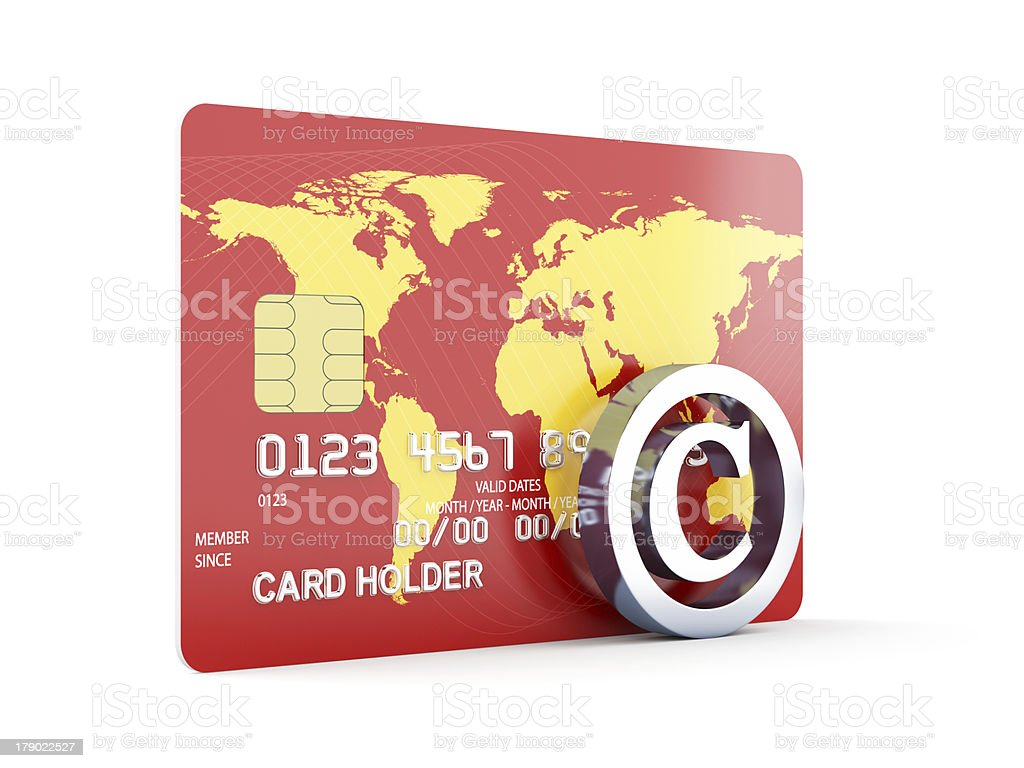 Credit card with copyright sign royalty-free stock photo
