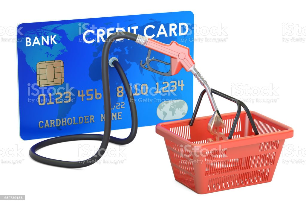 Credit card with fuel pump nozzle and shopping basket, 3D rendering stock photo