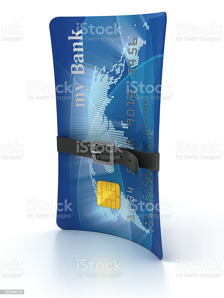 credit card with tighten belt stock photo
