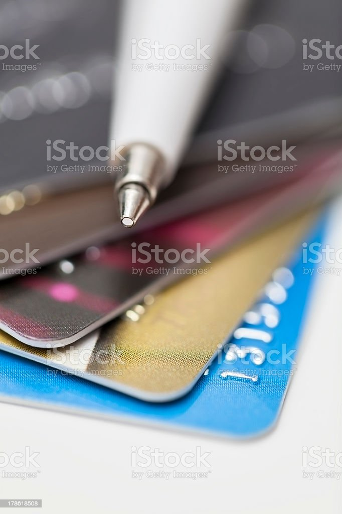 credit cards and ballpoint pen stock photo