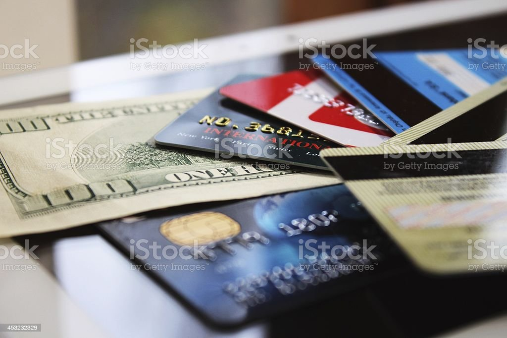 Credit cards and banknote (macro) stock photo
