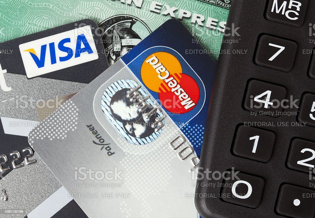 credit cards and calculator royalty-free stock photo
