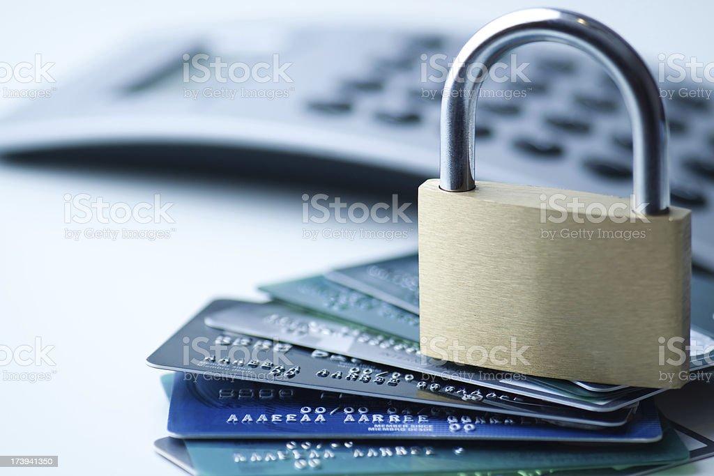 Credit cards and padlock royalty-free stock photo